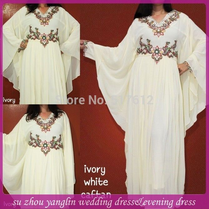 2014 New Design Ivory white Long Sleeve Embroidered Dubai Kaftan Dress-in Evening Dresses from Weddings & Events on Aliexpress.com | Alibaba Group