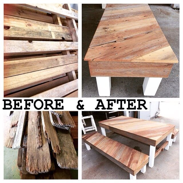 Indoor table created from recycled pallets and fence palings