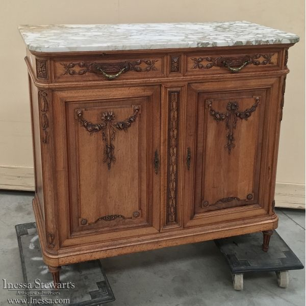 19th Century French Louis XVI Walnut Marble Top Buffet