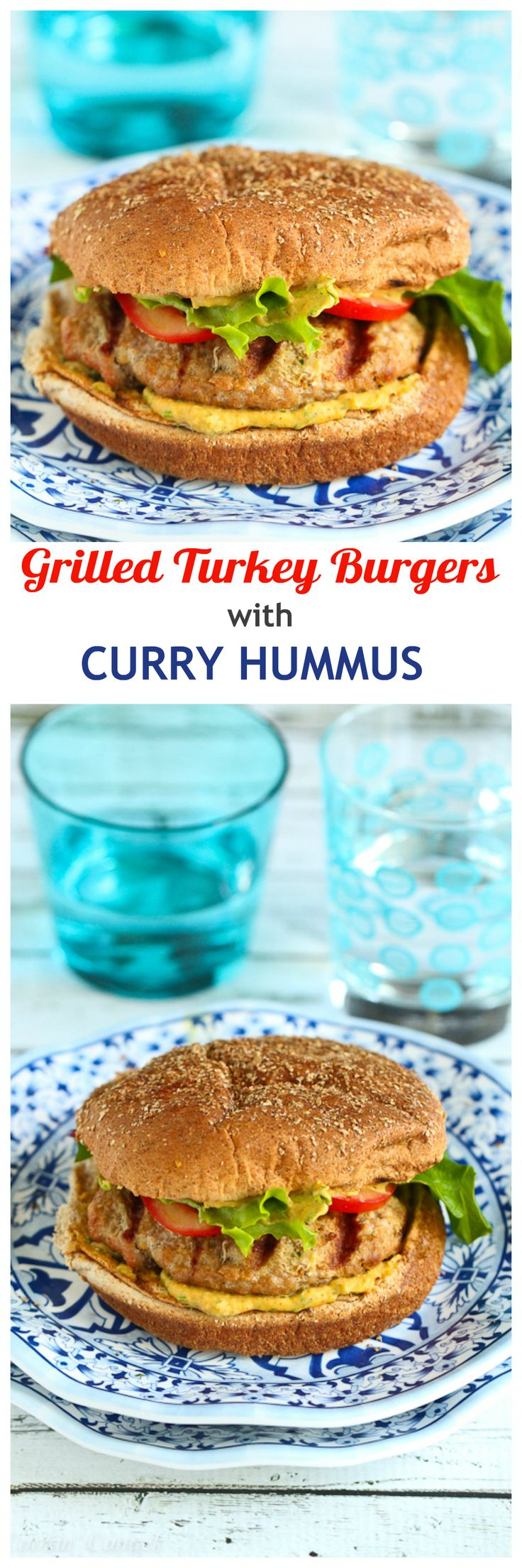 Grilled Turkey Burgers with Curry Hummus…254 calories and 7 Weight Watcher PP | cookincanuck.com #recipe #healthy