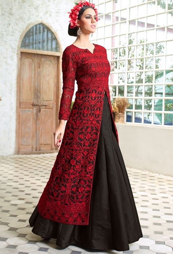 Beautiful Black Resham Embroidered Suit