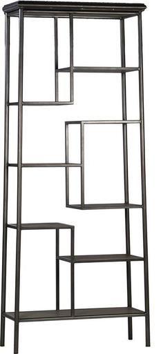 Bookcase GUBER Antiqued Black Burnt Steel Frame Oak Shelves New DT-768