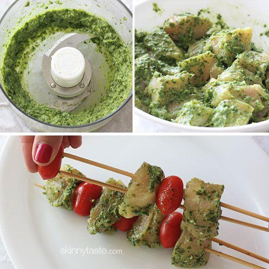 Grilled Pesto Chicken and Tomato Kebabs   Skinnytaste