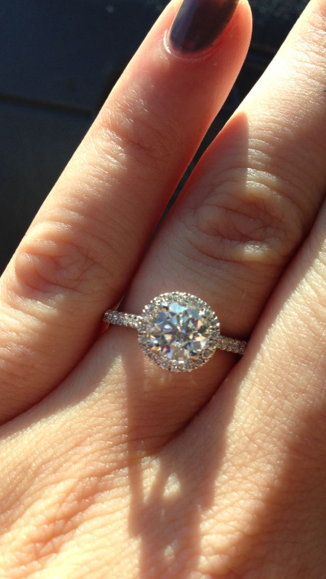 My ring :) round cut halo engagement ring