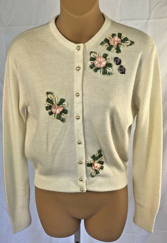 8c09c11e657 Vintage Women s Cardigan Sweater S Applique Floral Pearl Button Rockabilly   SelectSportswear  Casual