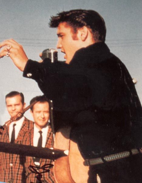 """Elvis performing with Jordanaires - Tupelo, 1956 - radio interview with bass singer, Ray Walker in 2012: """"I think the most revealing thing about Elvis Presley was that he didn't feel that special. He didn't act special. As far as thinking he was somebody hot, he never thought that. Never did."""""""