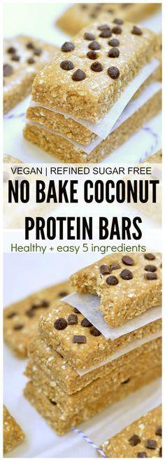 Healthy 5 ingredient no bake coconut protein bars. Less than 10 minutes, No refined sugar, no egg, no dairy, no oil, no flour.