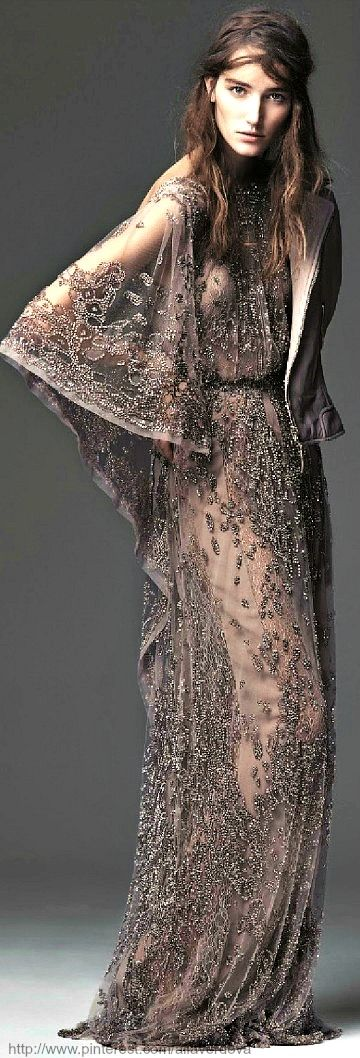 An Embroidered Anthology  Elie Saab Haute Couture dress and biker jacket by Balenciaga