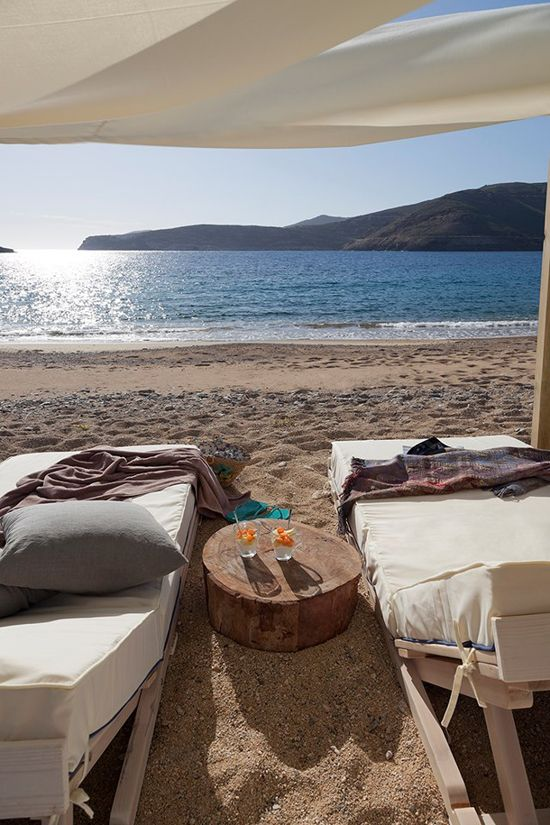 Lounging on the beach in Serifos, Greece