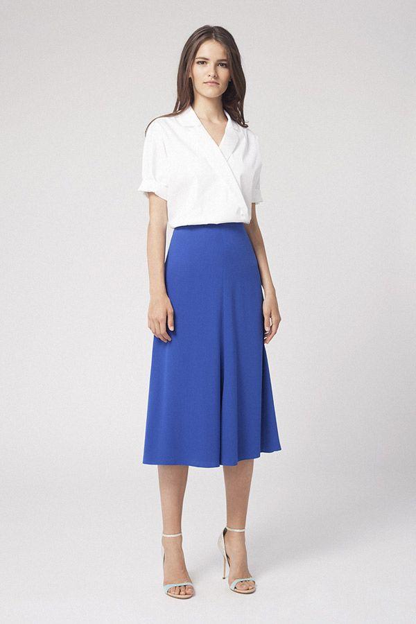 Синяя модная юбка 2016 с белой рубашкой – офисная мода 2016 Alexander Terekhov