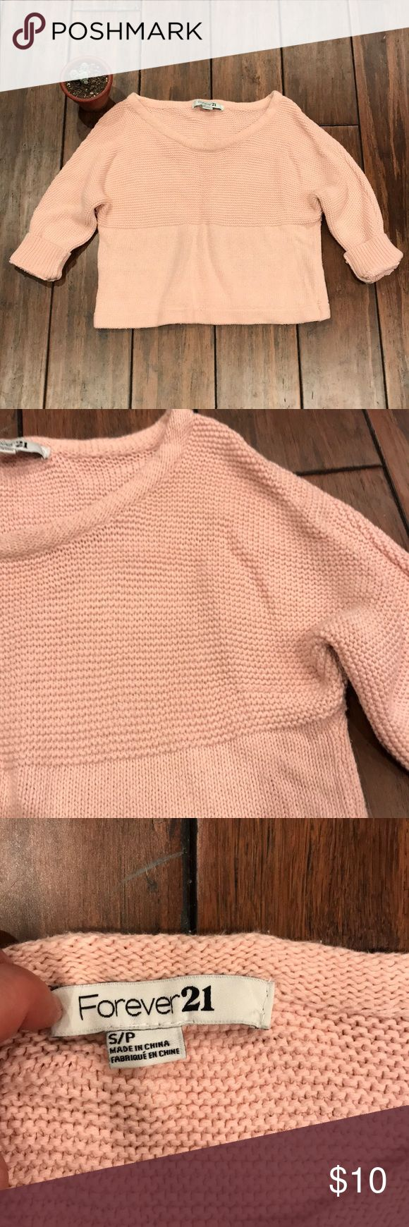 ☁️Rosy Blush Baby Pink Cropped Knitted Sweater☁️ Dress up or dress down, or wear over your favorite body con midi or mini dres; this little sweater's quite versatile! Cute and sweet! Price negotiable & bundle up to save even more!! Forever 21 Sweaters Crew & Scoop Necks