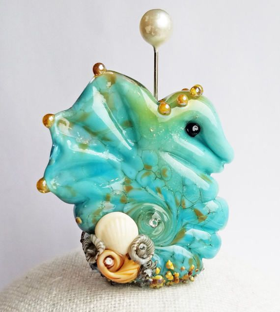 Beachy Bottom Seahorse Focal in Robin.s Egg Blue by Sabrina Koebel Handmade Lampwork Beads