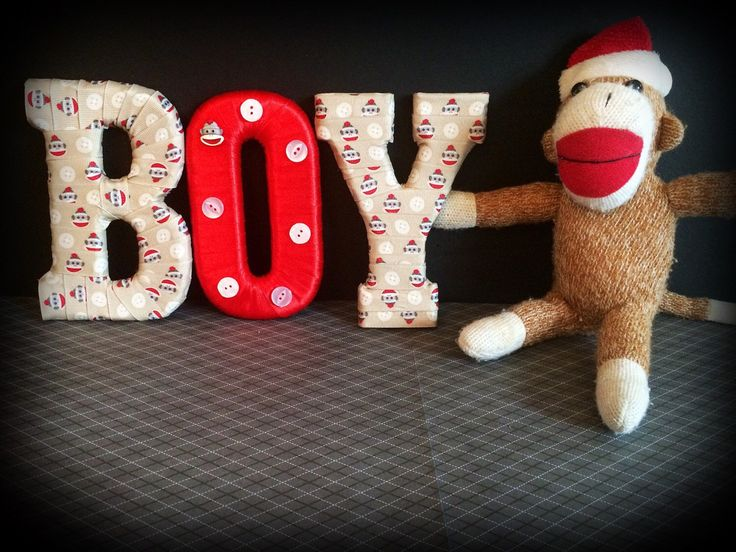 A personal favorite from my Etsy shop https://www.etsy.com/listing/234088019/sock-monkey-decor-decorated-letters-by