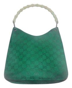 Gucci Chrome Hardware  v  Shaped Top Handle Embossed Large G Kelly  Green Khaki Hobo Bag a8ee4a55fa693