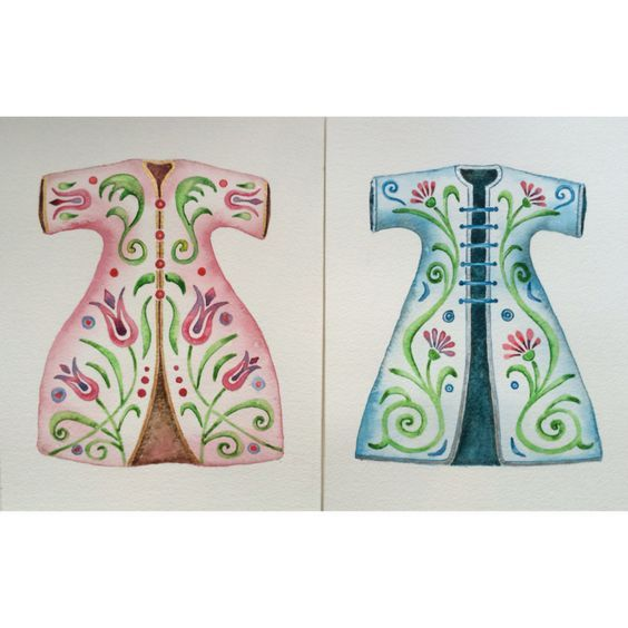 Original watercolor fashion painting set of 2 - turkish kaftan,wall decor,decorative art by SuayaArt on Etsy: