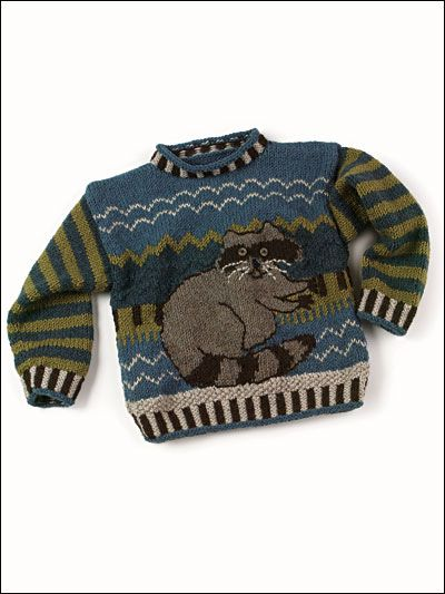 Your little boy will love this Rascal Raccoon Pullover. With great details, like striped cuffs and zig zags, this sweater is cute and comfy. Download the pattern for free at freepatterns.com