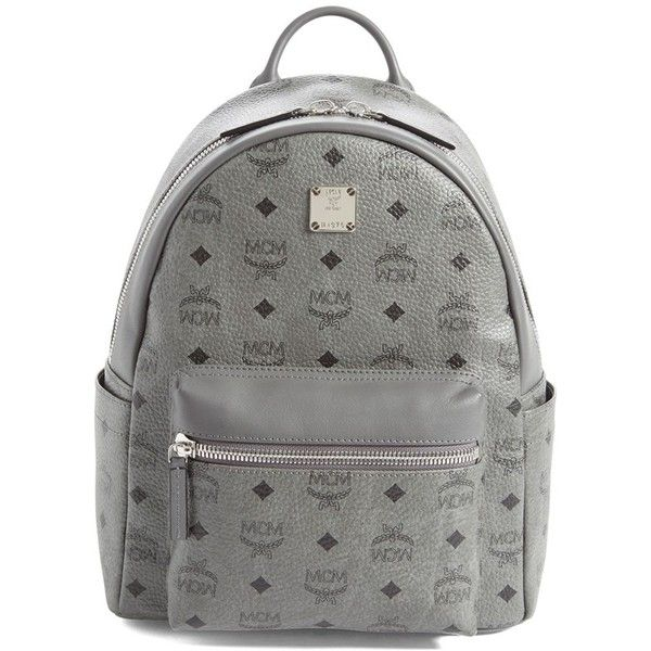 Mcm Backpack 'Small Stark' Metallic Coated Canvas Backpack ($483) ❤ liked on Polyvore featuring bags, backpacks, grey, tablet bag, laptop rucksack, backpack laptop bag, grey backpack and metallic backpack