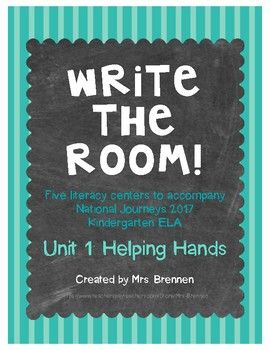 These five Write the Room centers were designed to be used in conjunction with the Houghton Mifflin Harcourt National Journeys ELA series for Kindergarten, Unit 1. The first page for each lesson is the recording sheet; the following pages should be laminated, cut out, and placed around the room for