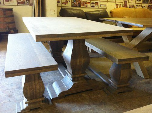 Solid Oak Pedestal Base Table and Benches