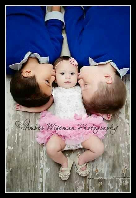 This newborn shot would be cute for Luke and Caleb with Anna