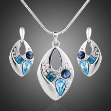 Pendant & Earring Set 'Blue Shades'- Shop Online Now at www.lillyjack.com.au
