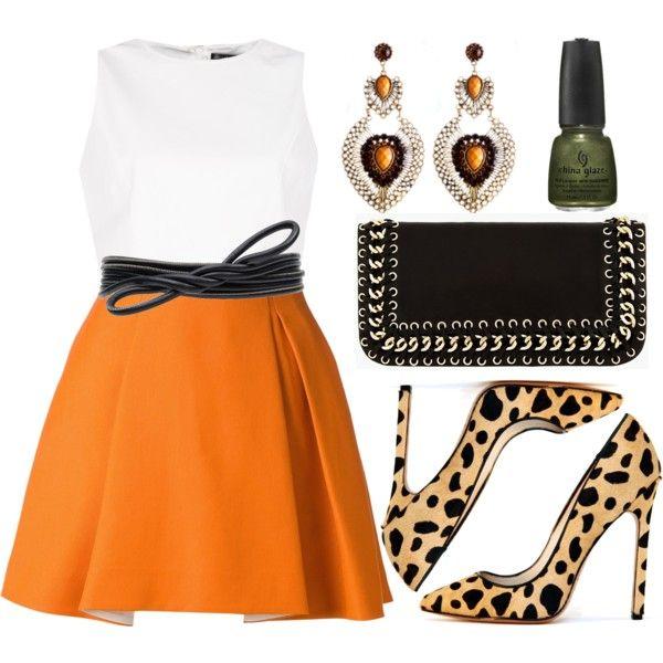 """Orange Leopard"" by kimeechanga on Polyvore"