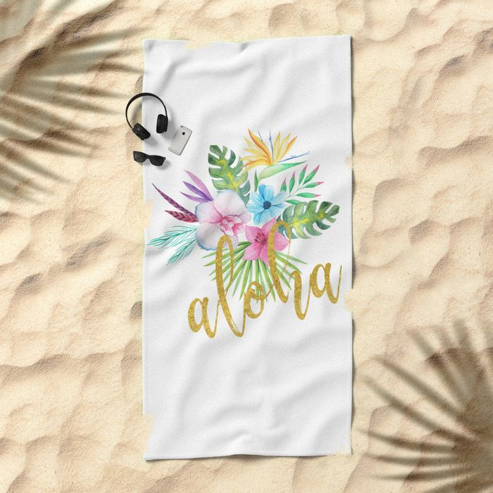 Hawaiian multicolored floral bouquet with faux gold aloha brush script beach towel by Ankka