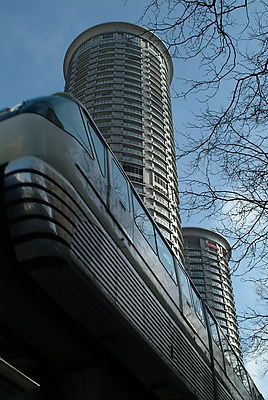 The Monorail, built for the world's fair, near The Westin Hotel in Downtown Seattle ... photo from Seattle Municipal Archives