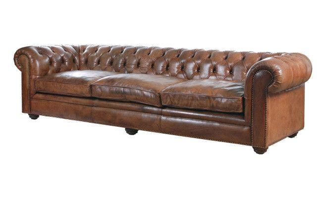 Sofá Chesterfield de cuero marrón  282 x 71 x 100 cm