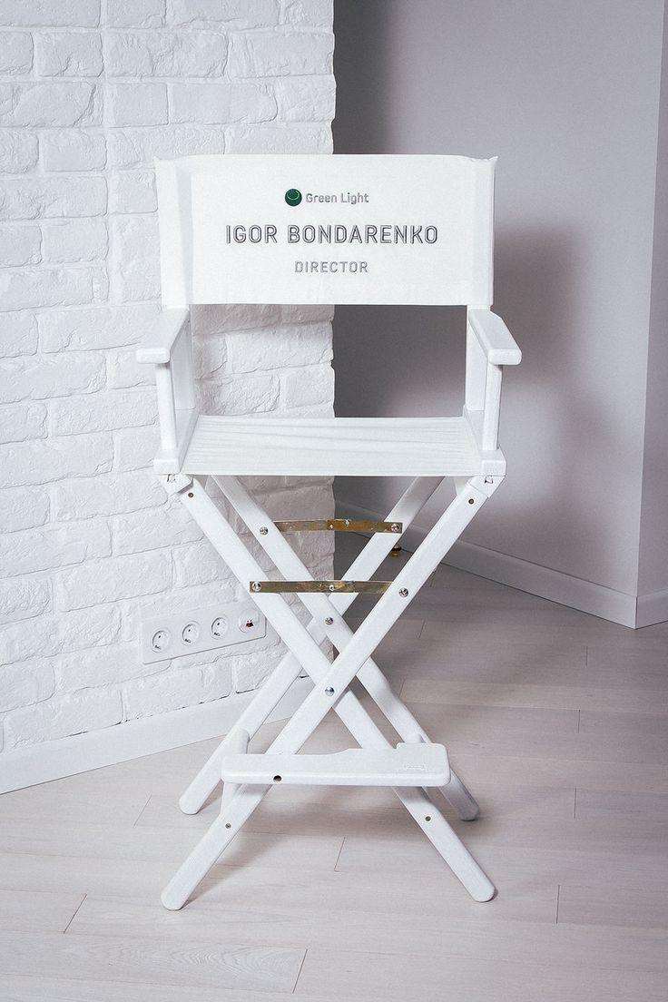 Купить Режиссерское кресло с 3D вышивкой - белый, стул, стулья, кресло, барный стул