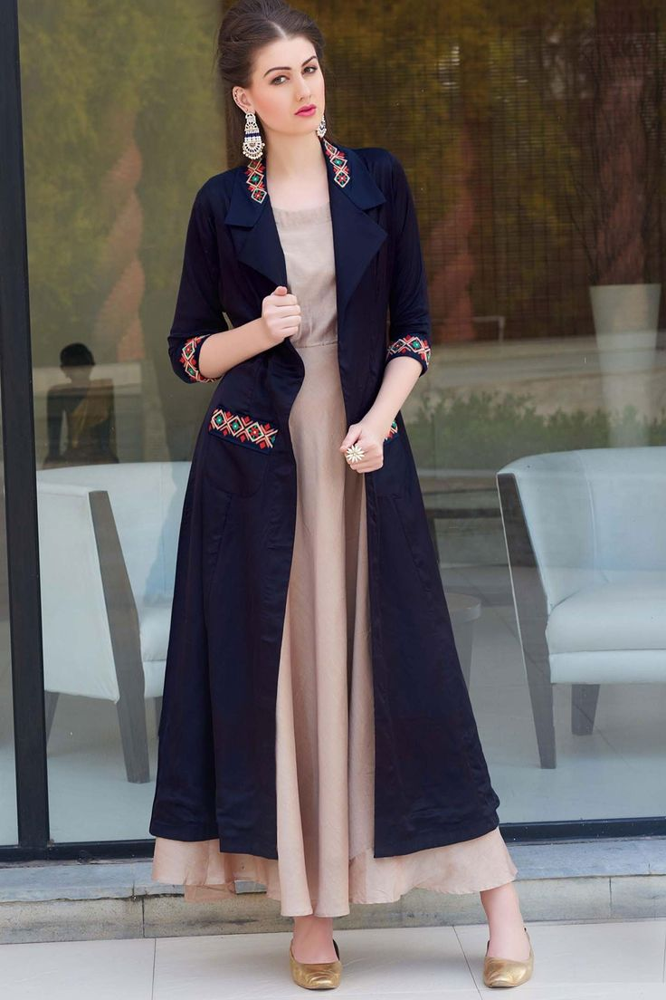 #Navyblue and light #brown ethnic georgette #kameez with #threadwork -SL5503