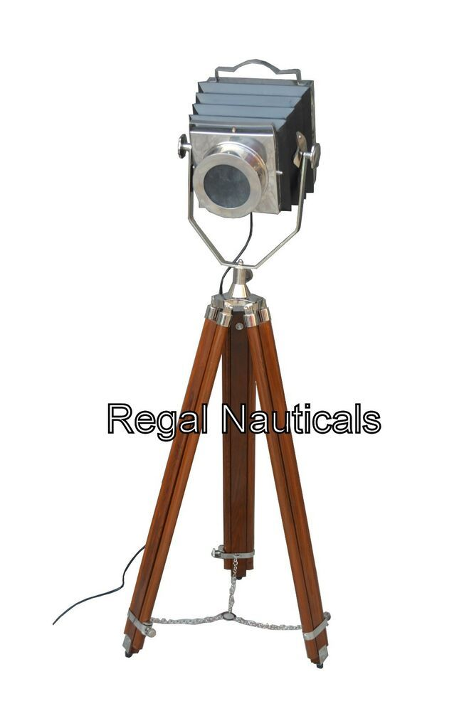 TRIPOD Stehlampe STAND NATURAL HOLZ STATIV IN CHROM-FINISH Stehlampe