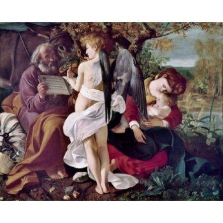 Resting On The Flight To Egypt Michelangelo Merisi da Caravaggio (1571-1610 Italian) Galleria Doria Pamohili Rome Italy Canvas Art - Michelangelo Merisi da Caravaggio (18 x 24)