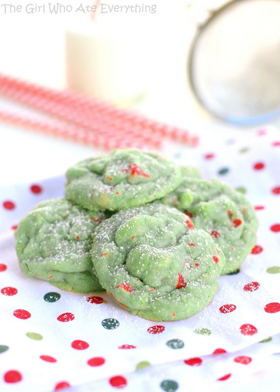Love these Pistachio Cherry Meltaway Cookies by @Christy Polek Polek Denney {The Girl Who Ate Everything} ...so festive! #Christmas #cookies
