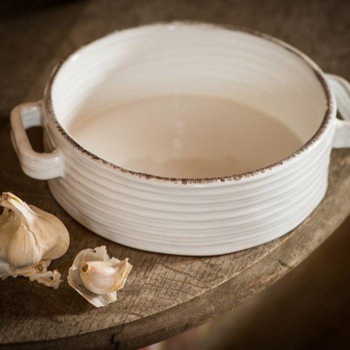 Tapinassi Handmade Ceramic Round Casserole Dish White - Plato cazuela de cerámica redonda color blanco