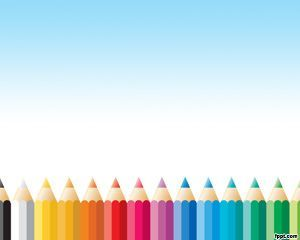 Free Pencil Colors PowerPoint Template with Pencil in the Background