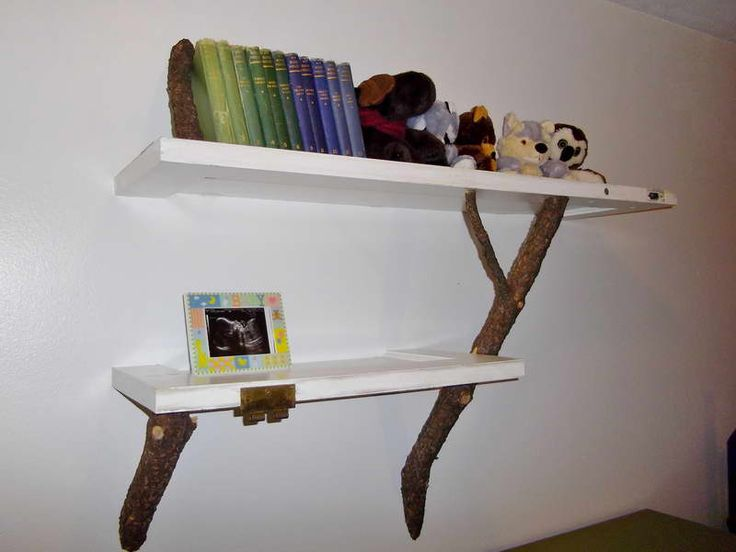 Rustic Twig Hanging With Wooden Bookshelves Http Monpts Unique