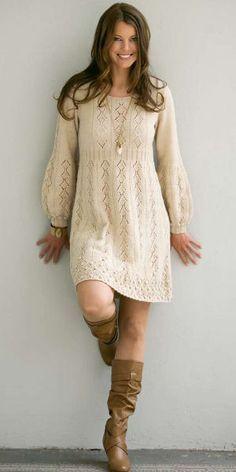 Vestido tricô lã