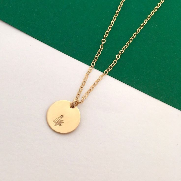 Botanical gold tree necklace - disc pendant