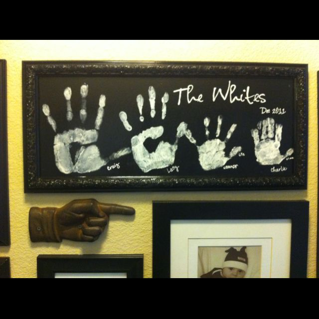 Family hand art for the wall gallery Made by yours truly! Lacy White