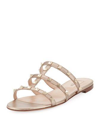 d31f81dd7b96 Valentino Garavani Rockstud Leather Flat Slide Sandal