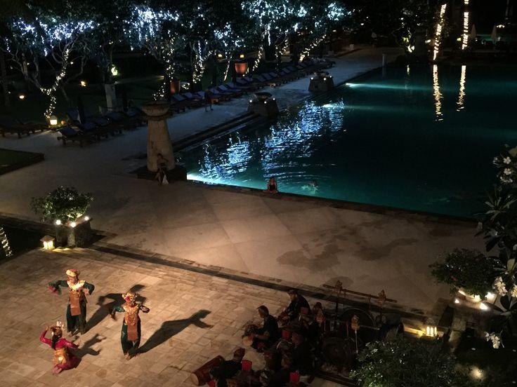 Balinese dancers perform a couple of nights a week at the Conrad Bali Resort.