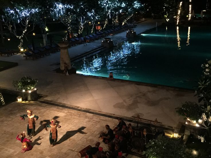 Balinese dancers perform a couple of nights a week at the Conrad Bali Resort.