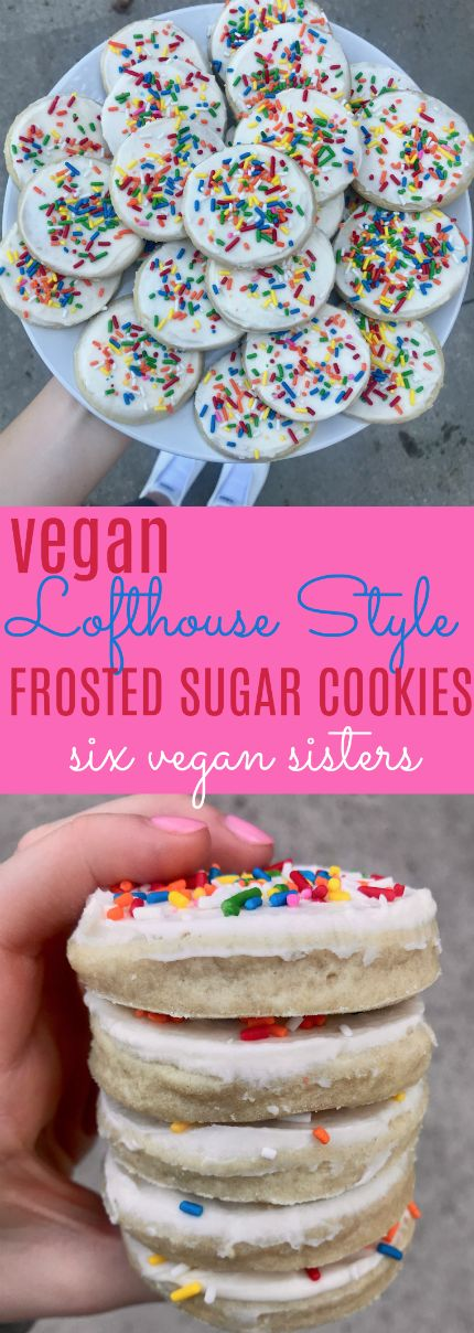 Vegan Lofthouse Style Frosted Sugar Cookies by Six Vegan Sisters