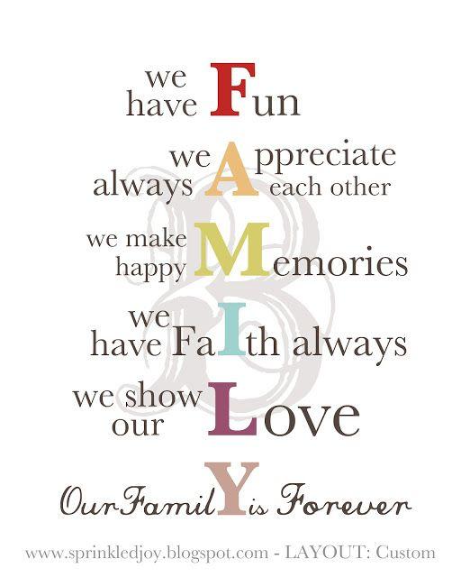 Family vision statement idea