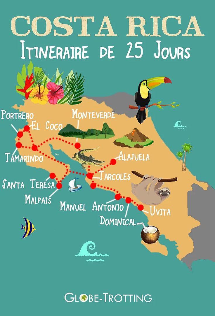 Itinéraire voyage de 25 jours au Costa Rica avec un bébé    25 days in Costa Rica with baby     Tout le détail du voyage sur mon blog : http://www.globe-trotting.com/itinraire-costa-rica-avec-bebe-18-mois  COSTA RICA MAP