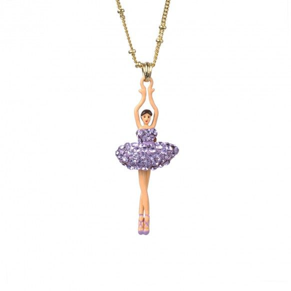 Collier ballerine tutu pavé de strass lilas, bijoux fantaisie, strass, danseuse, Paris