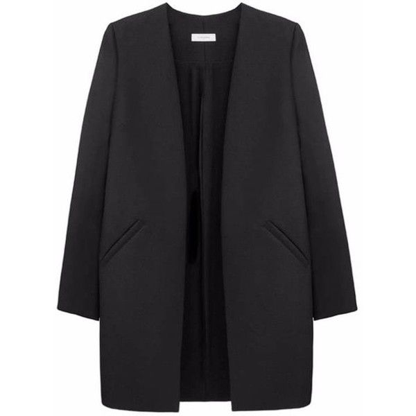 Thisisnon Merino Wool Boyfriend Jacket found on Polyvore featuring outerwear, jackets, coats, black, straight jacket, boyfriend jacket, merino wool jacket and open front jacket