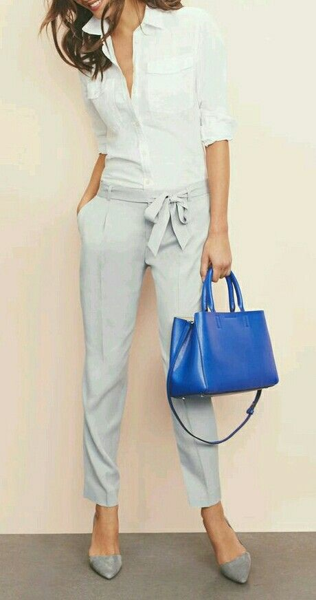 These trousers hitting at the ankle is lovely but I live for interesting details like the bow or studs. I would love a grey, navy or blush for fall