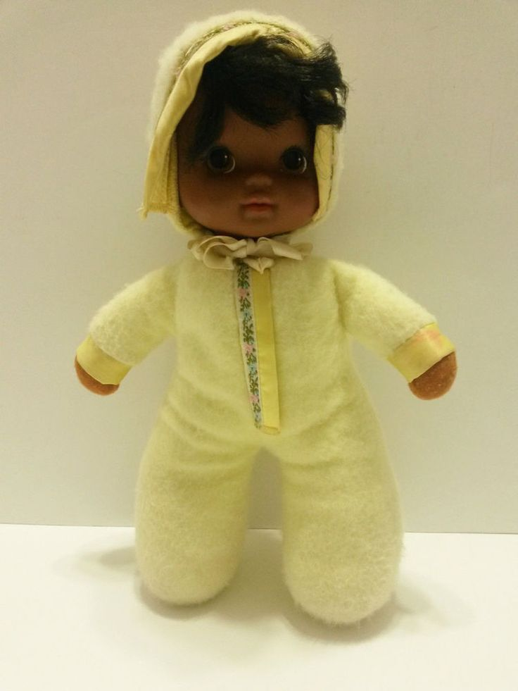 """Mattel - 1983 African American Baby Doll Cuddly Toy (Cloth Body) 12"""" tall #Mattel #DollClothBody  ..... Visit all of our online locations..... www.stores.ebay.com/ourfamilygeneralstore ..... www.bonanza.com/booths/Family_General_Store ..... www.facebook.com/OurFamilyGeneralStore"""
